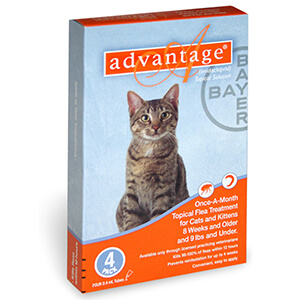 Advantage Cat Orange 0-9lbs, 4 month