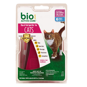 Bio Spot Active Care Flea & Tick Spot On, Cats 5 lbs+, 6 Mo Supply