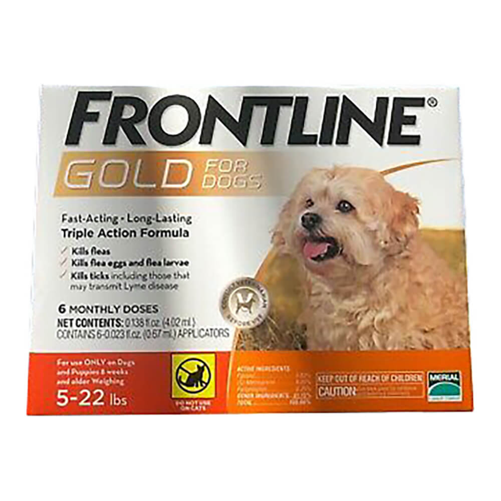 Frontline Gold for Dogs 5-22 lbs, Orange, 6 Month