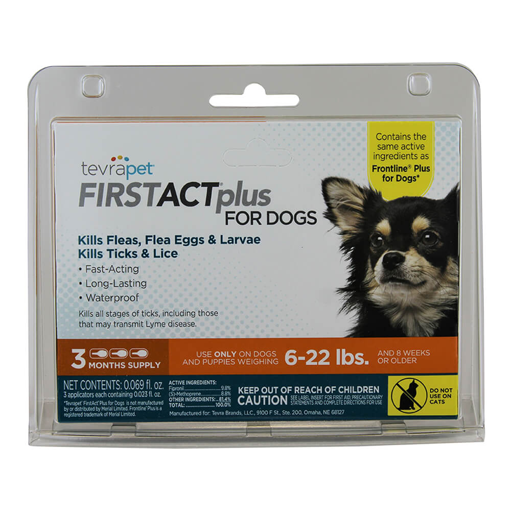 TevraPet FirstAct Plus for Dogs 6-22 lbs, 3 doses