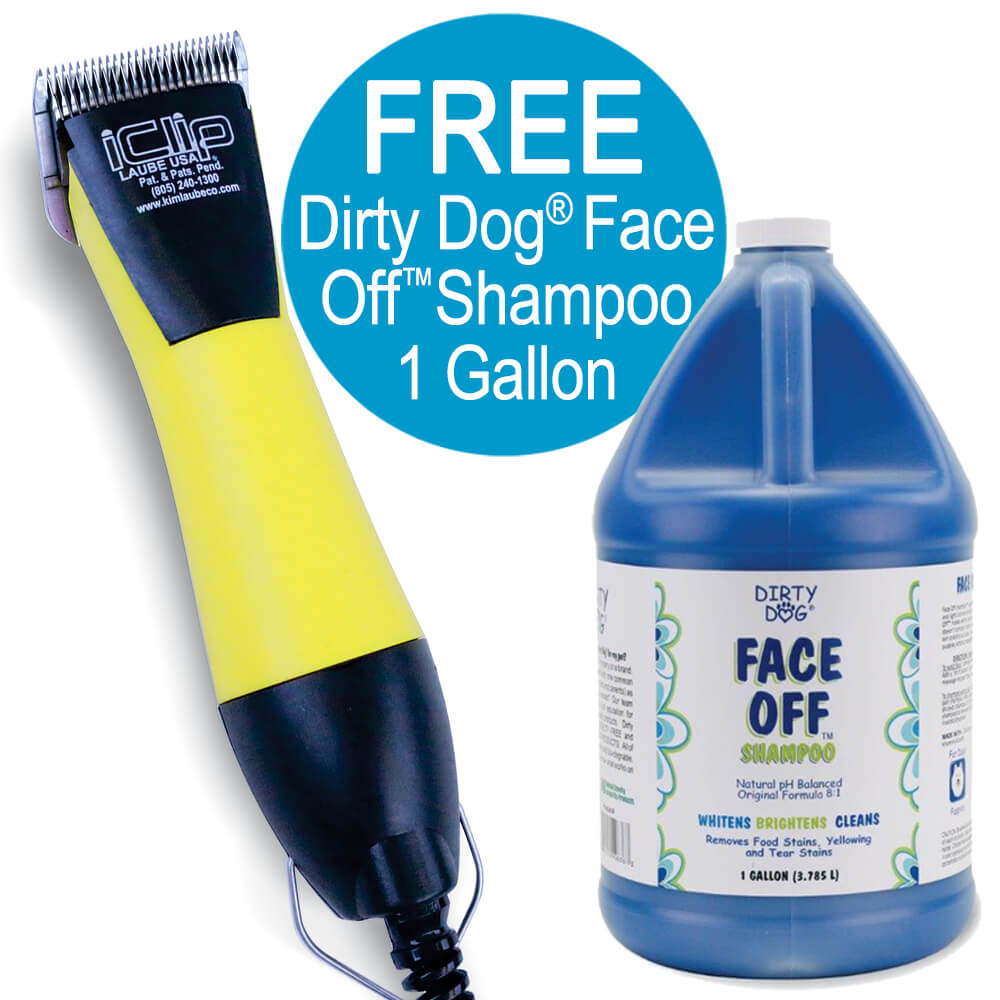 iClip Corded Clipper 2 Speed, Yellow, FREE Gallon Shampoo