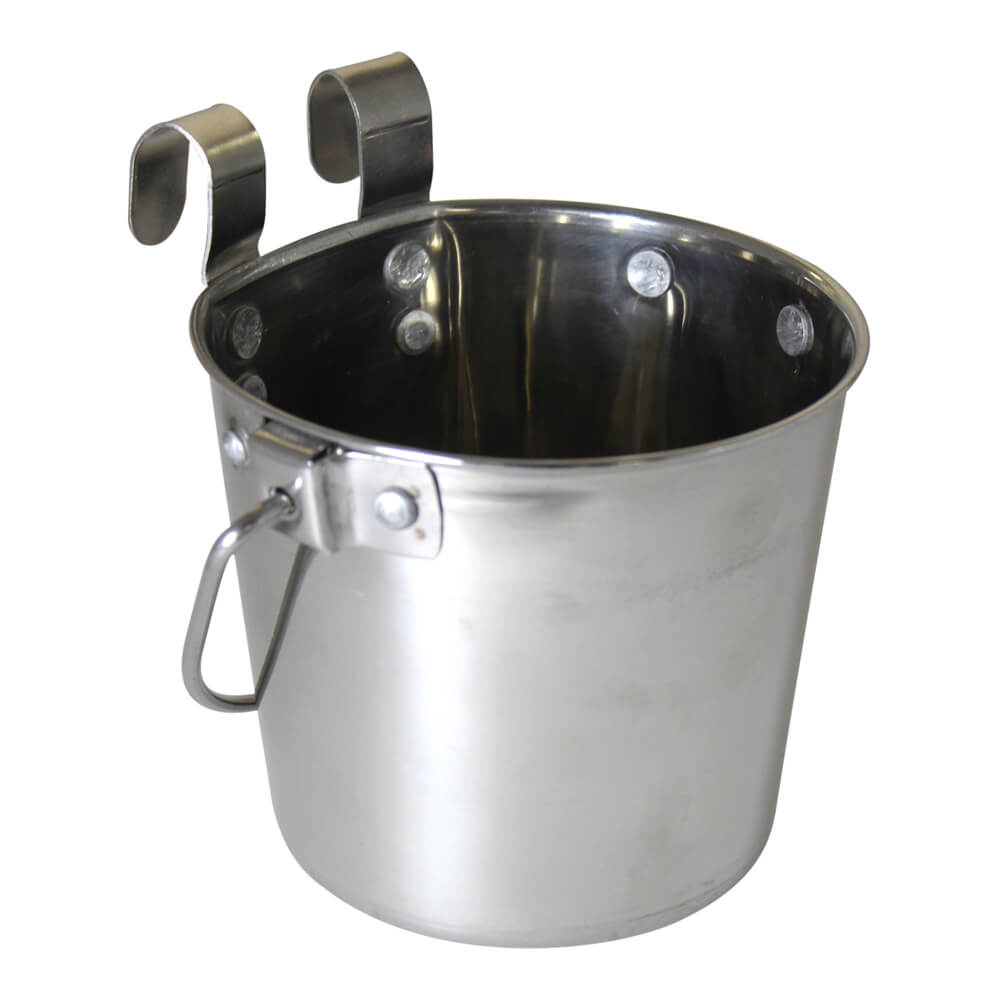 Pail Stainless Steel w/ Rivets, Flat Sided Hook-On, 2 qt