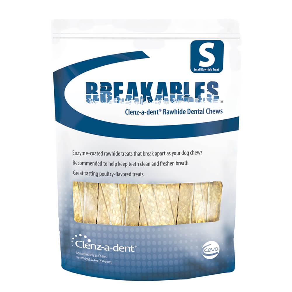 Clenz-a-dent Breakables Dental Rawhide Chews Small 30 Count