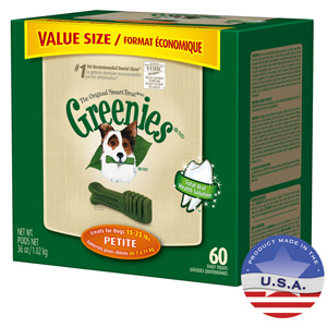 Greenies Dental Chews Petite, 60 ct, 36oz Tub