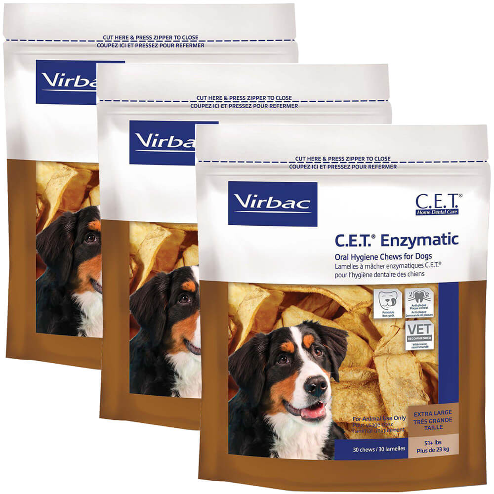 C.E.T. Enzymatic Oral Chews for Dogs Over 50 lbs, 30 Ct, 3pack