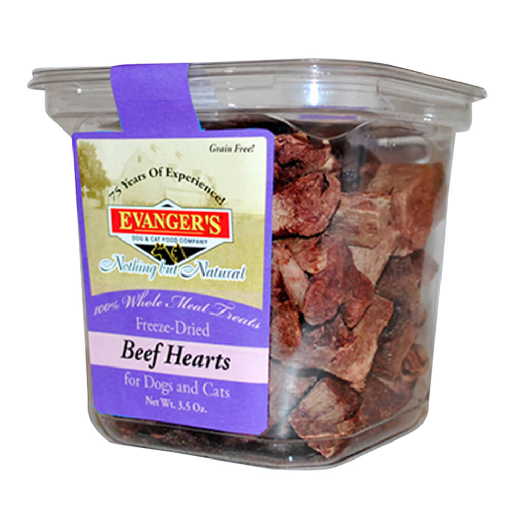 Evangers Natural Gently Dried Beef Heart Treats for Dogs & Cats 3.5 oz