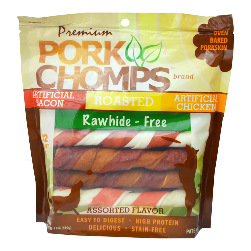 Premium Pork Chomps, Assorted Twistz, 12ct